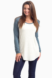 Dusty Teal Baseball Sleeve Top