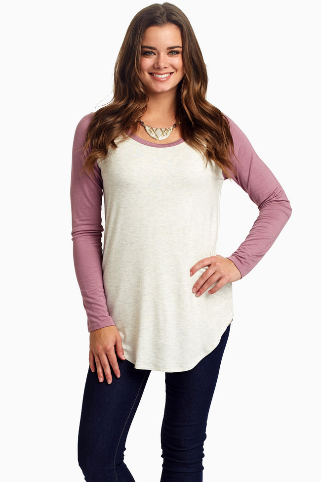 Lavender Baseball Sleeve Maternity Top