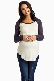 Charcoal Baseball Sleeve Maternity Top