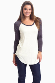 Charcoal Baseball Sleeve Top
