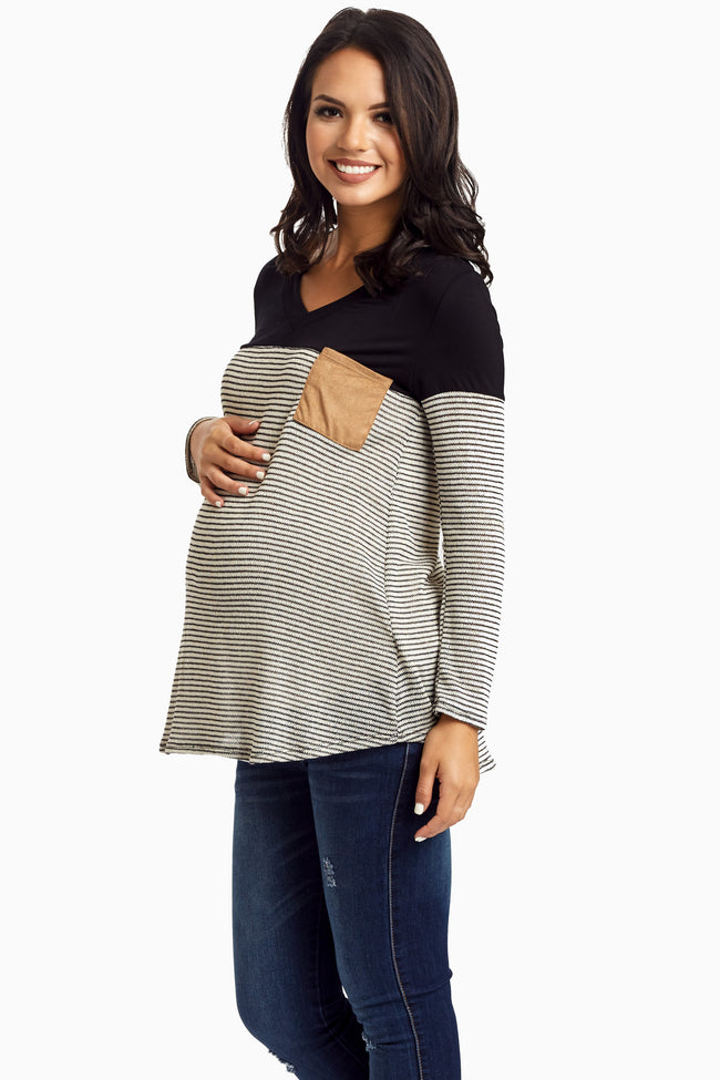 Black Striped Suede Accent Knit Maternity Top