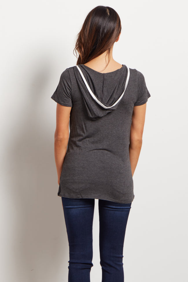 Charcoal Hooded Short Sleeve Maternity Top
