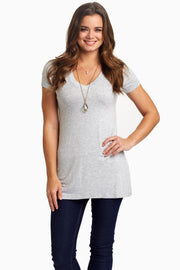 Grey Short Sleeve V-Neck Top