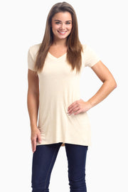 Beige Short Sleeve V-Neck Top