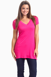 Fuchsia Short Sleeve V-Neck Top