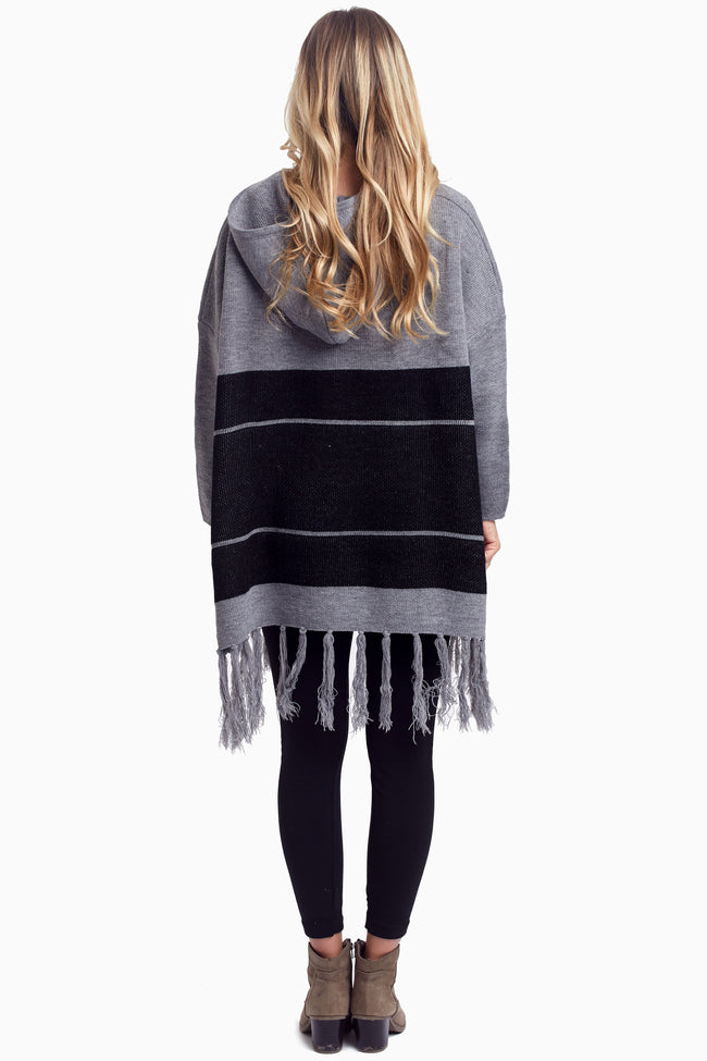 Grey Striped Fringe Knit Sweater