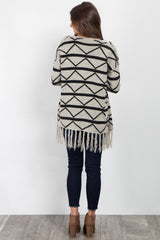 White Black Chevron Fringed Knit Cardigan