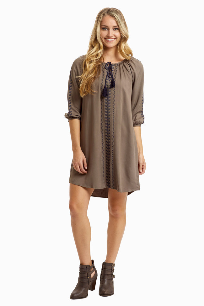 Olive Navy Embroidered Tie Front Tunic/Dress