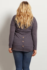 Charcoal Cowl Neck Plus Size Maternity Top