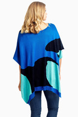 Navy Aqua White Abstract Printed Knit Plus Size Poncho