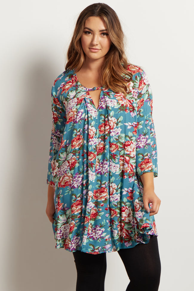 Jade Floral Bell Sleeve Plus Tunic
