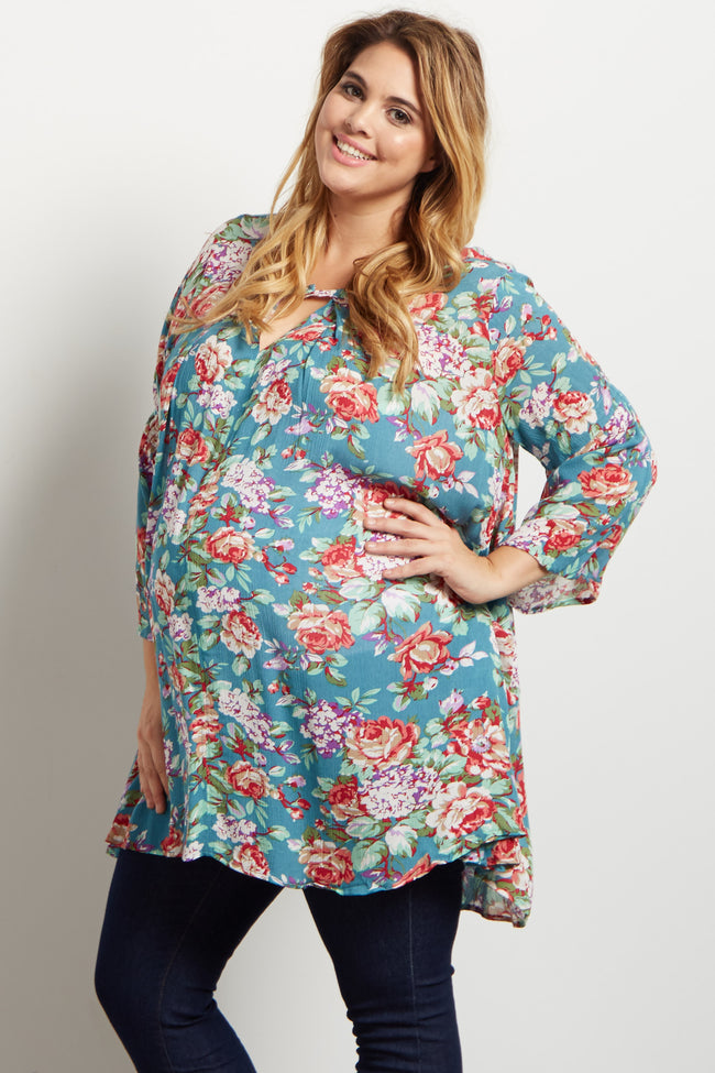 Jade Floral Bell Sleeve Plus Maternity Tunic