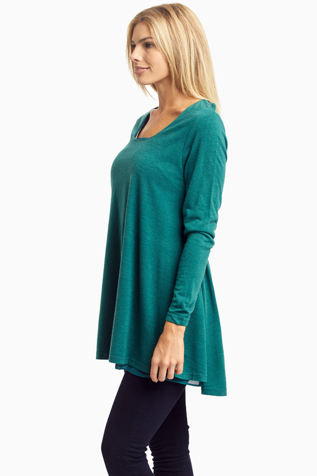 Forest Green Chiffon Layered Flare Knit Top