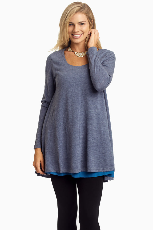 Blue Layered Flare Knit Top