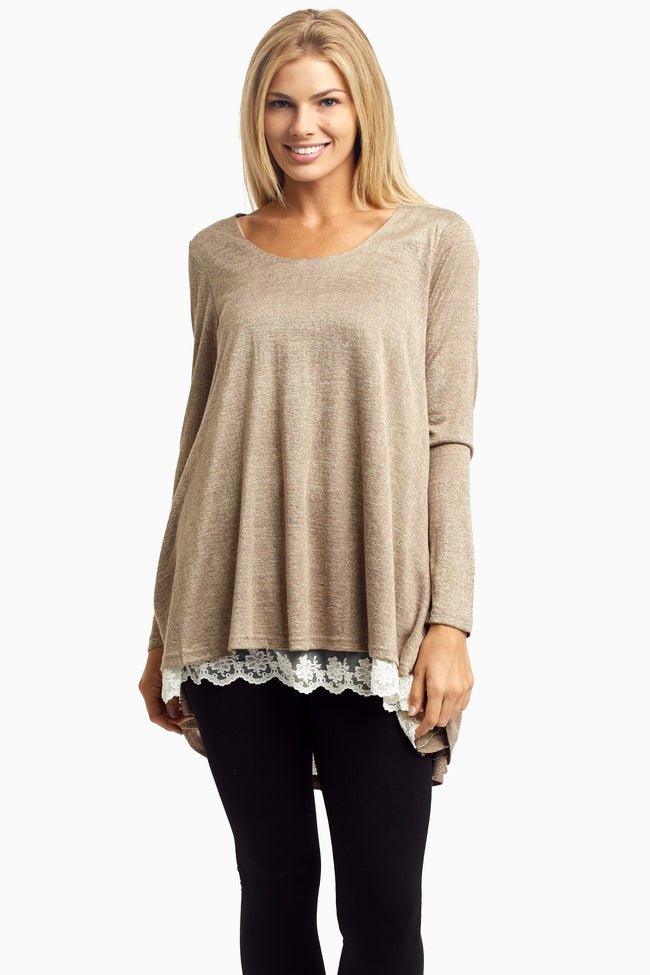 Mocha Lace Lined Flare Top