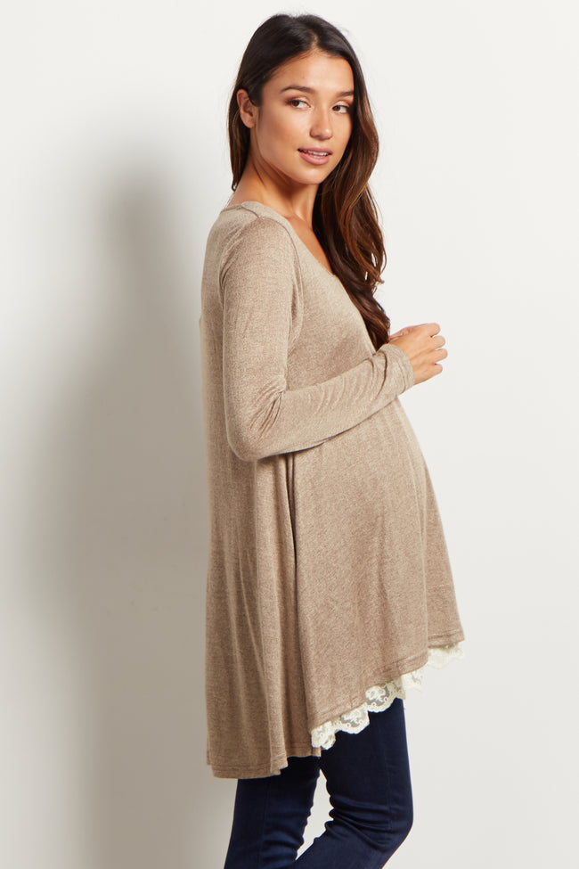 Mocha Lace Lined Flare Maternity Top
