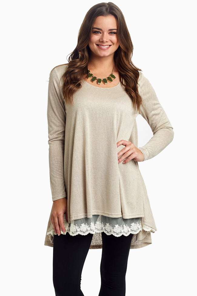 Beige Lace Lined Flare Maternity Top