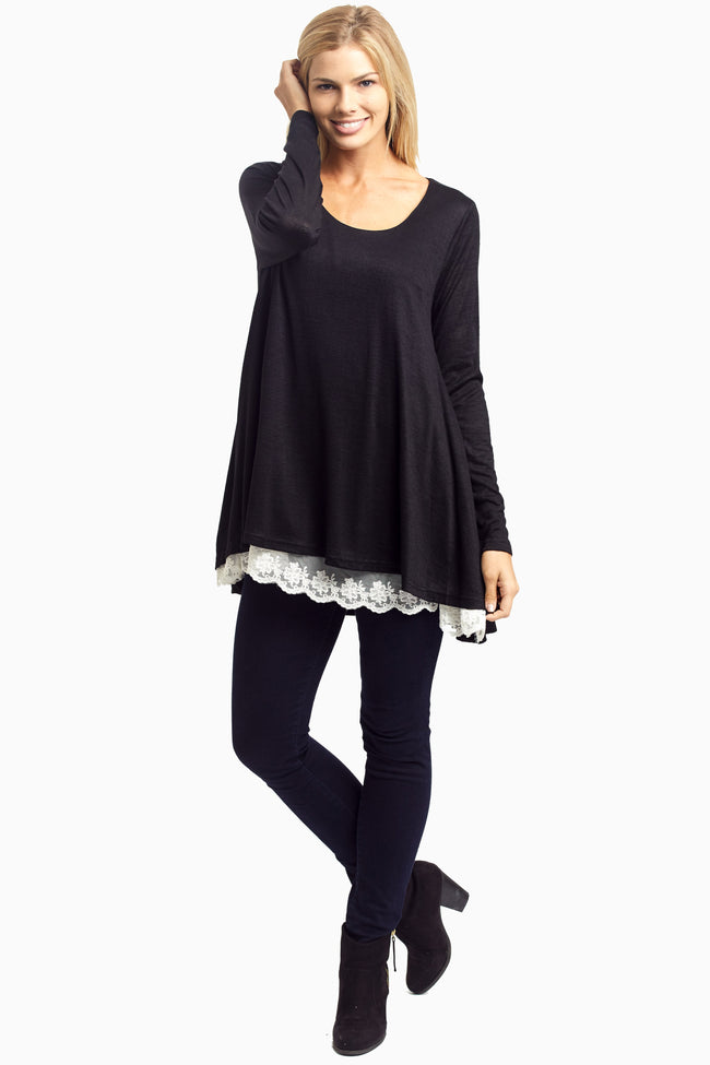 Black Lace Lined Flare Top