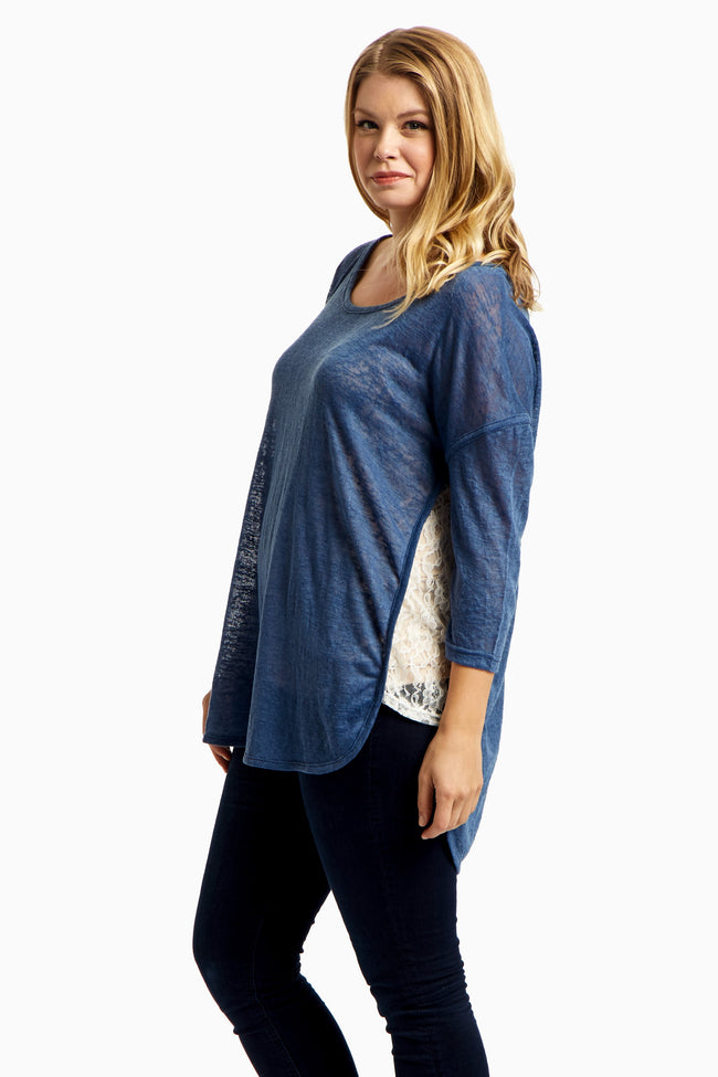 Blue Lace Side Plus Size Top