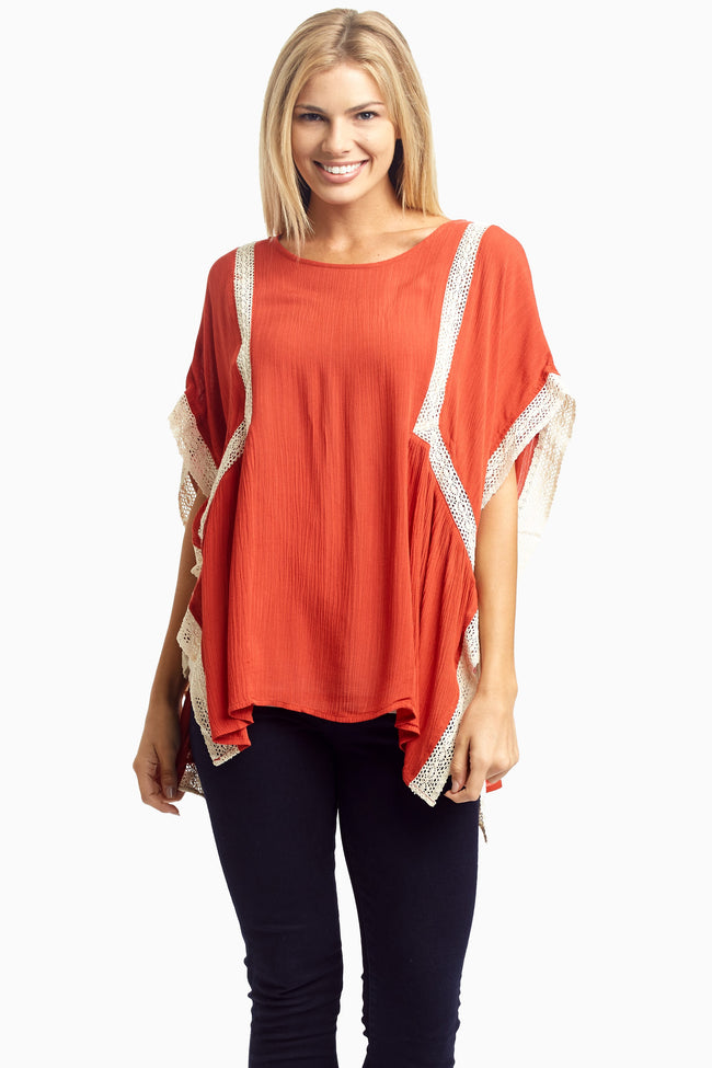 Rust Crochet Accent Side Tie Linen Blouse
