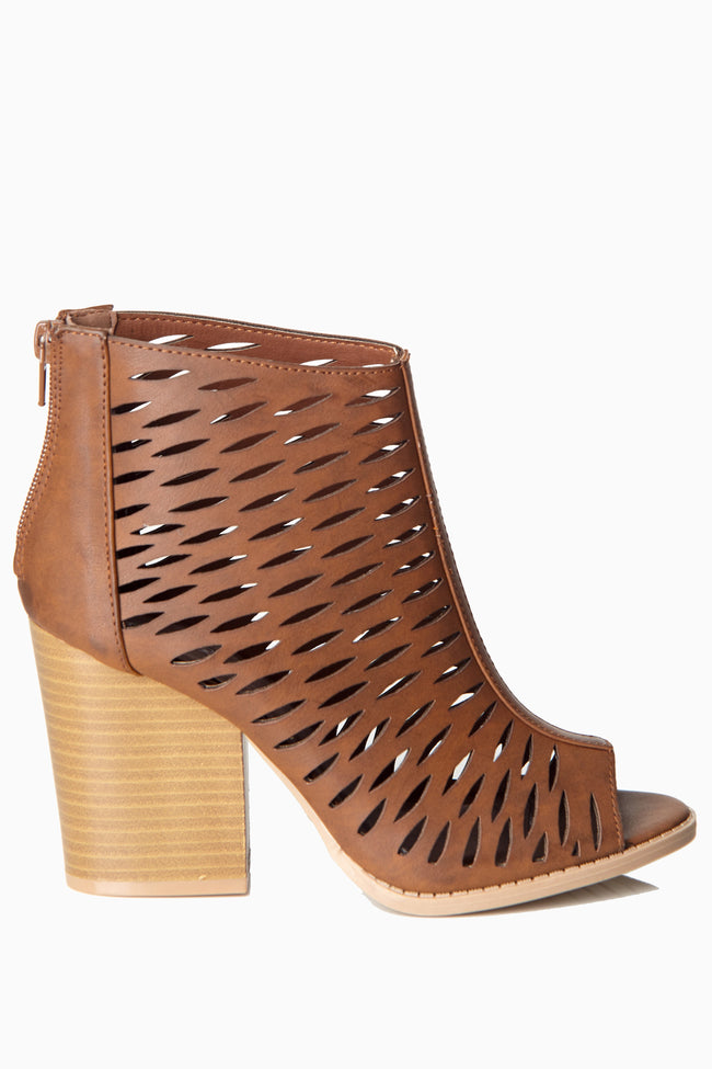 Tan Cutout Open Toe Ankle Boot