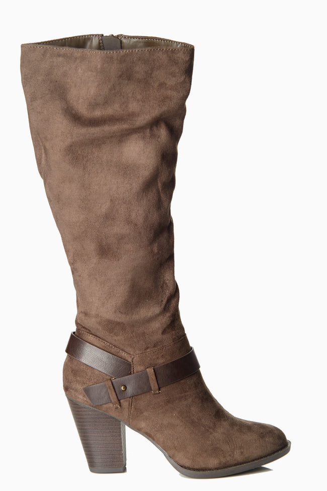 Brown Suede Strapped Boot