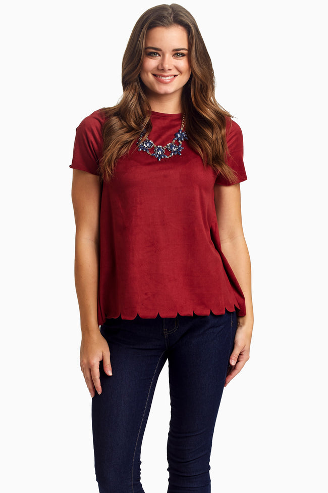 Burguny Suede Scalloped Top