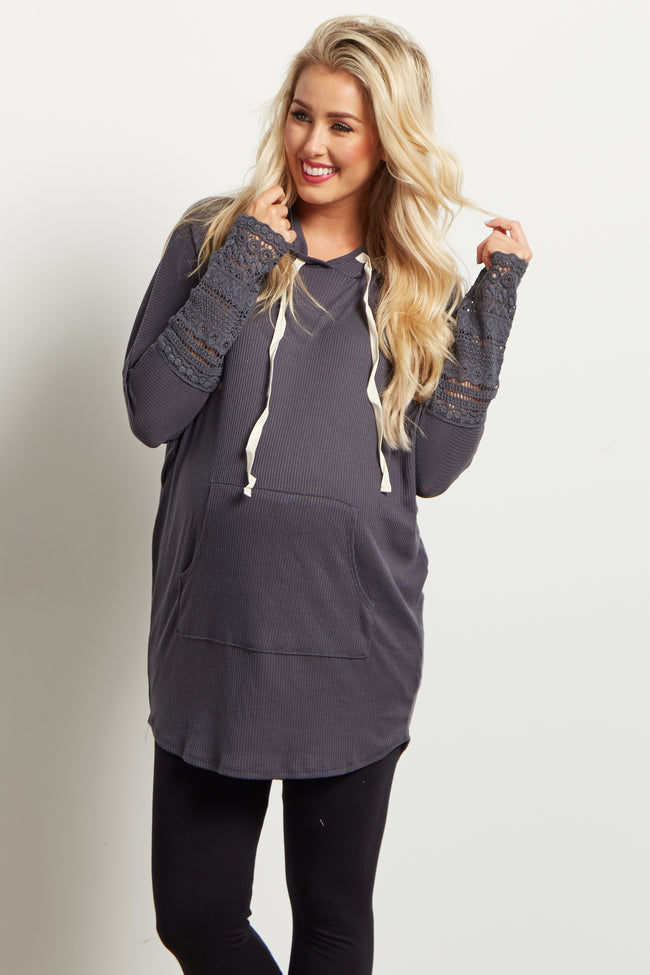 Charcoal Crochet Cuff Hooded Knit Maternity Top