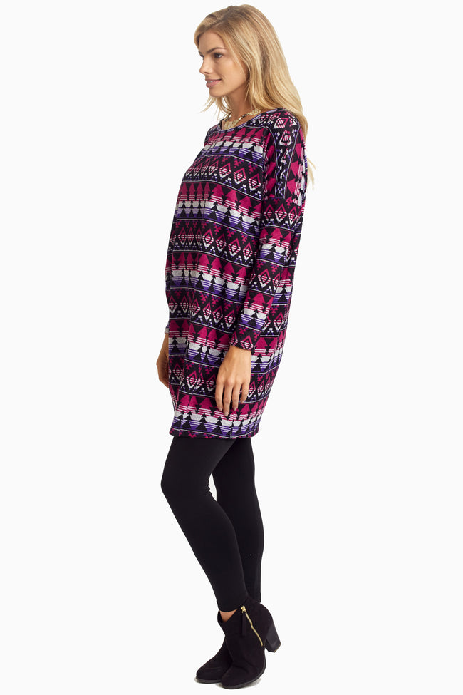 Magenta Tribal Knit Tunic/Dress