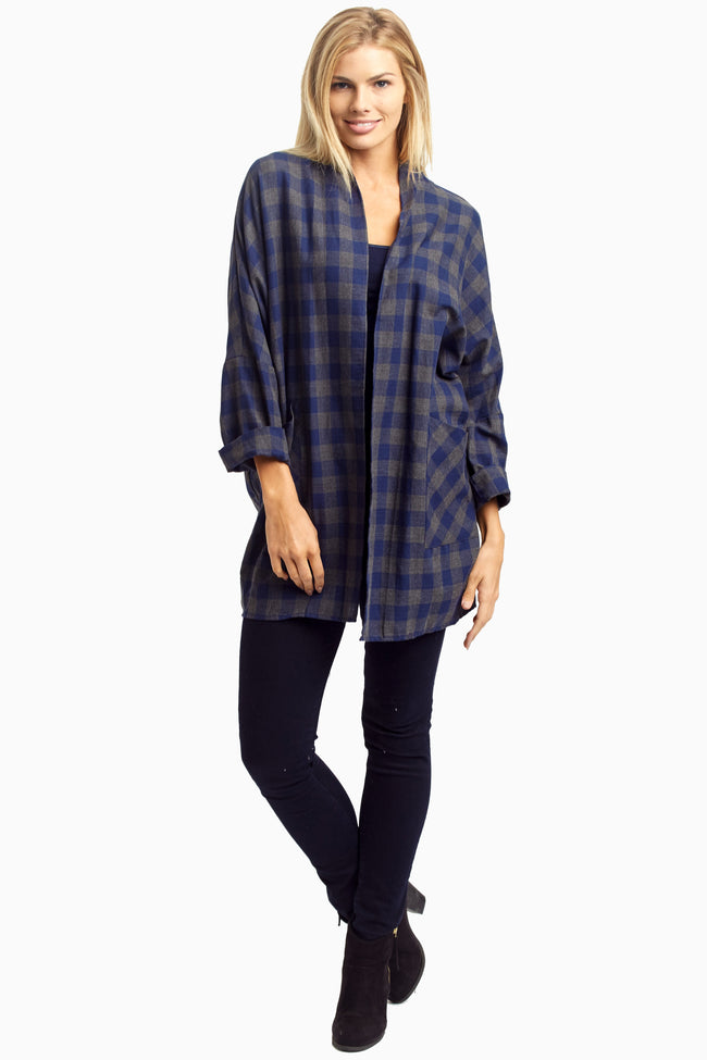 Navy Charcoal Plaid Cardigan