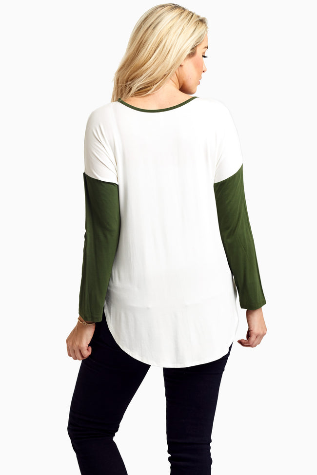Olive Colorblock Suede Pocket Maternity Top