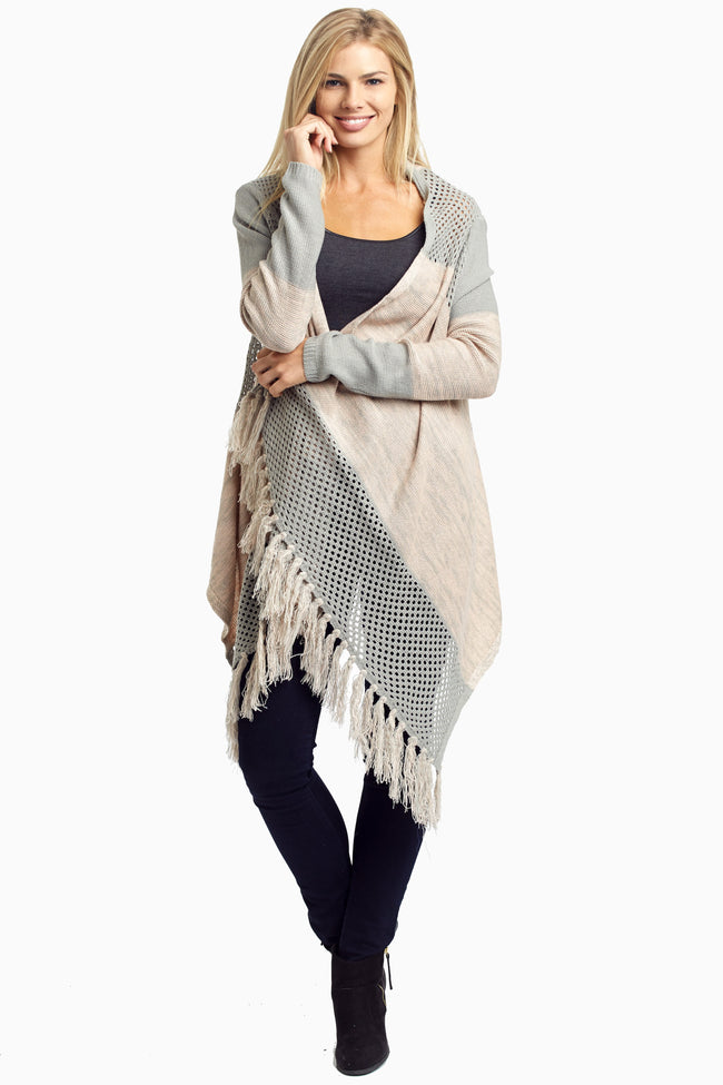 Grey Pink Open Knit Fringed Cardigan