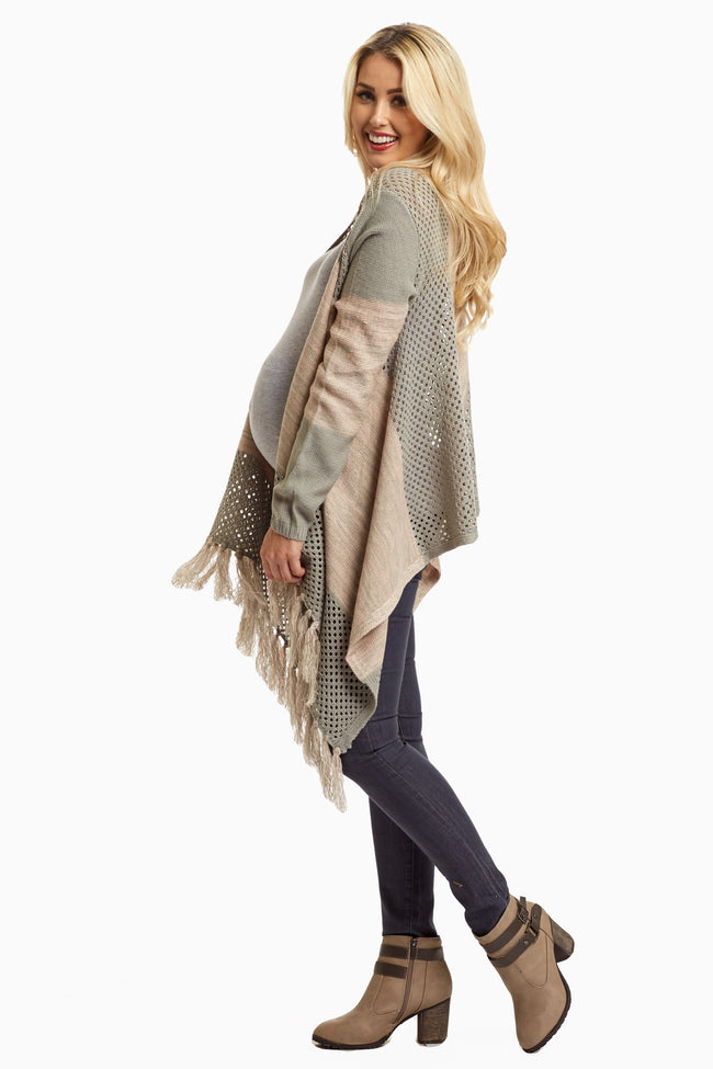 Grey Pink Open Knit Fringed Maternity Cardigan