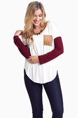 Burgundy Colorblock Suede Pocket Top