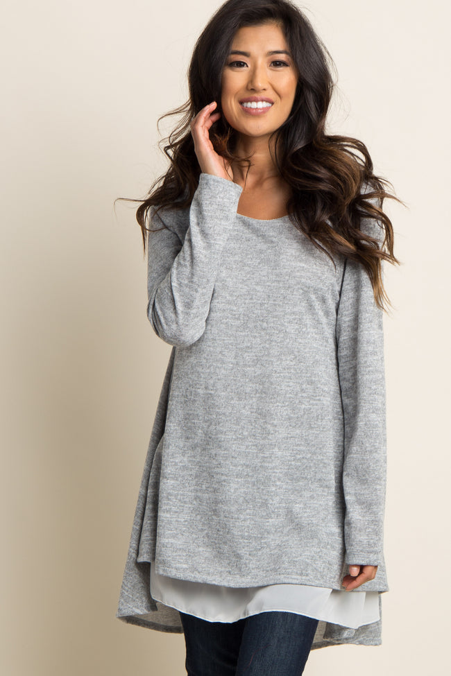 Grey Chiffon Lined Knit Tunic