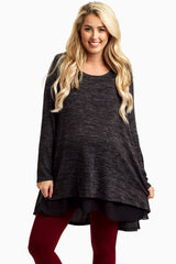 Black Chiffon Lined Knit Maternity Tunic