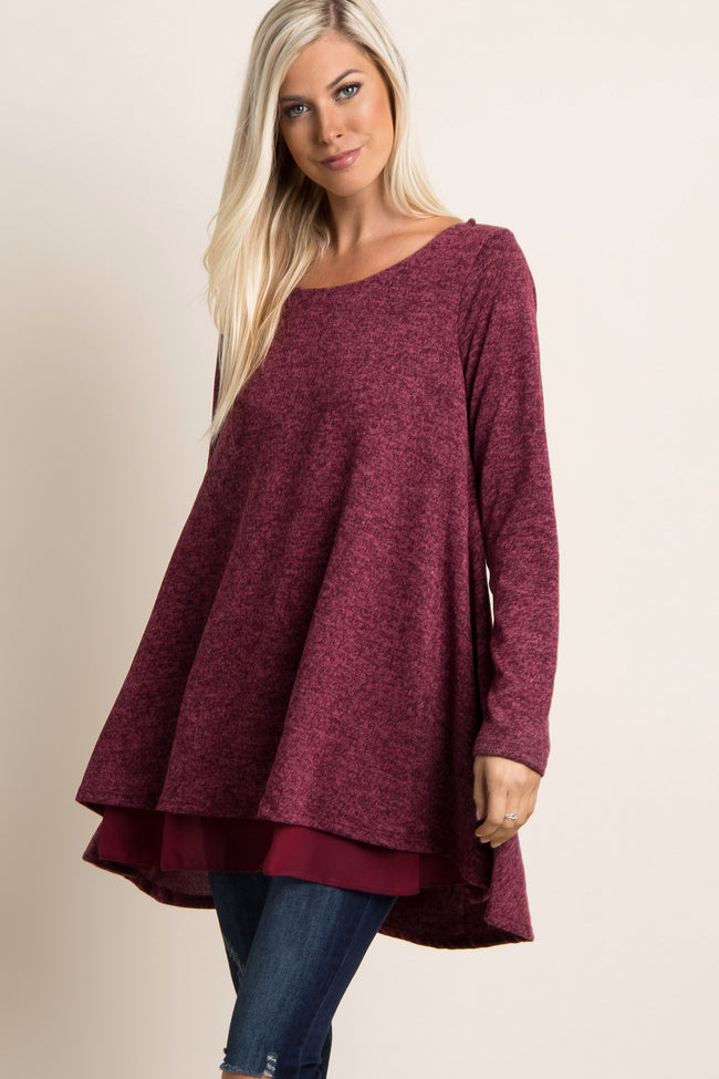 Burgundy Chiffon Lined Knit Maternity Tunic