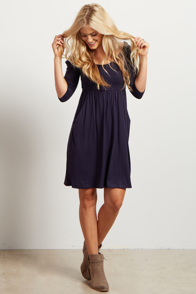 Navy Blue Solid Pocketed Dress