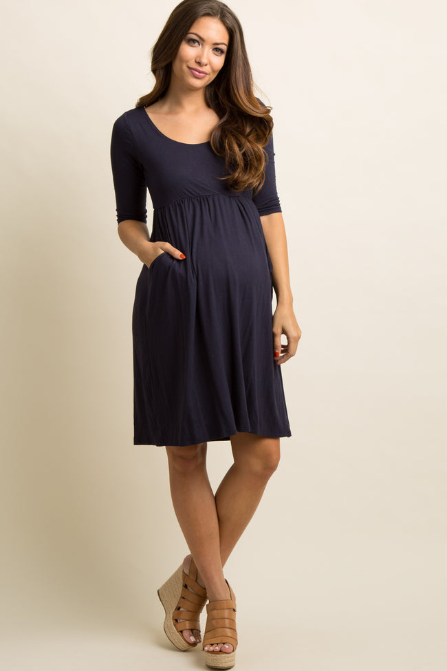Navy Blue Solid Pocketed Maternity Dress Pinkblush