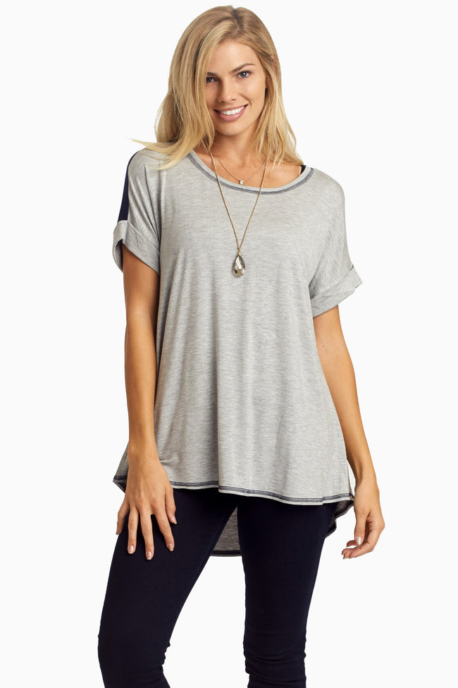 Grey Colorblock Back Maternity Top