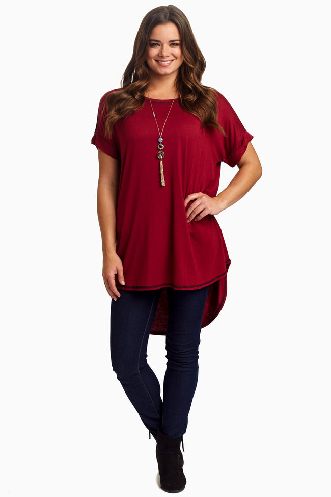 Burgundy Colorblock Back Maternity Top