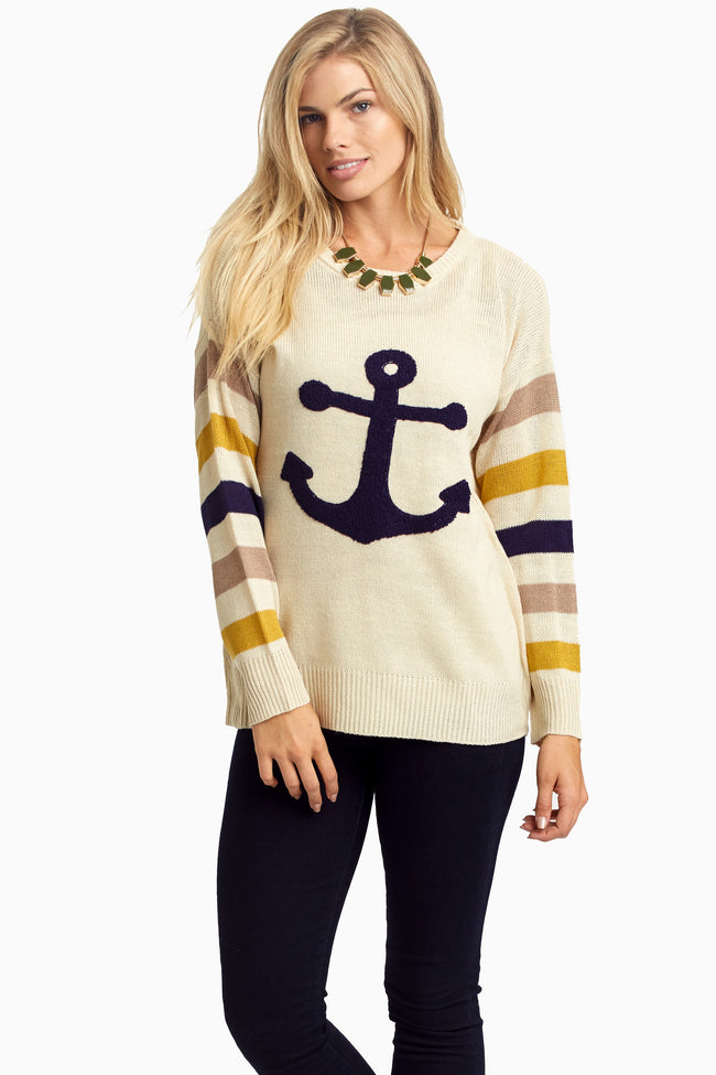Cream Striped Sleeve Anchor Sweater