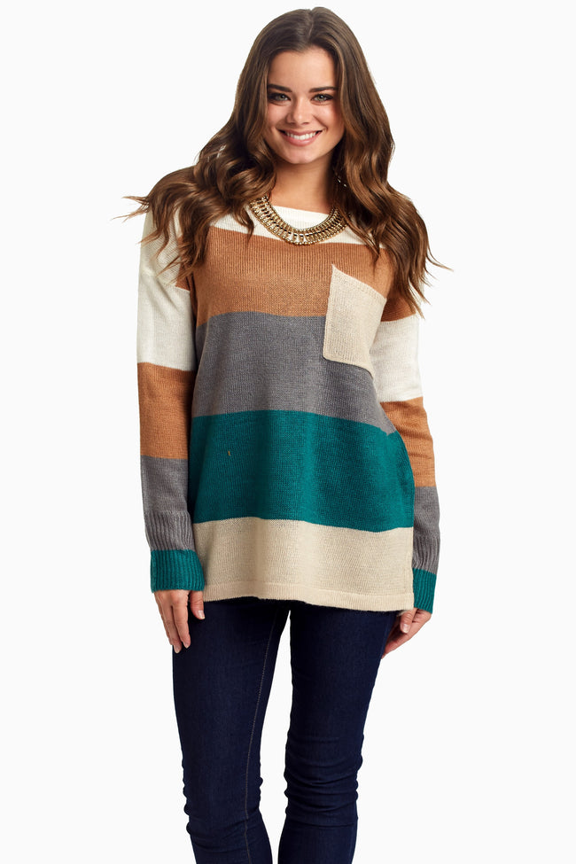 Ivory Colorblock Knit Sweater
