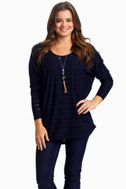 Navy Wave Textured Top