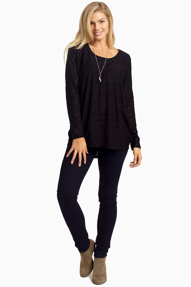 Black Wave Textured Maternity Top