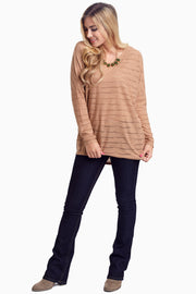 Mocha Wave Textured Maternity Top