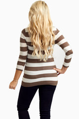 Brown White Striped Maternity Sweater