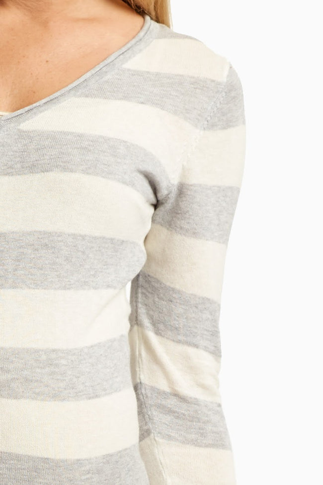 Grey White Striped Maternity Sweater
