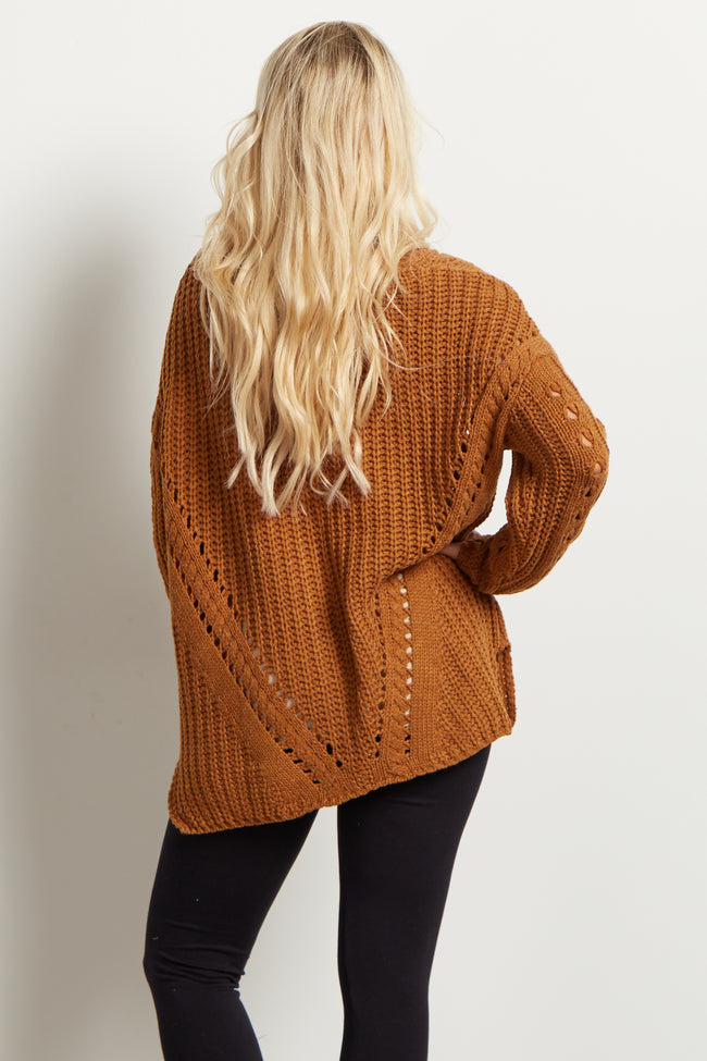 Tan Knit Button Up Maternity Cardigan