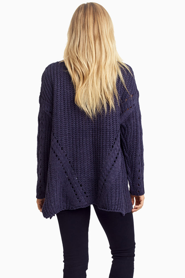 Navy Knit Button Up Cardigan